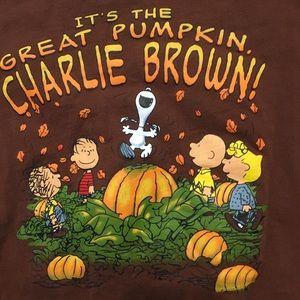 Men's Peanuts T-shirt L brown Great Pumpkin Snoopy